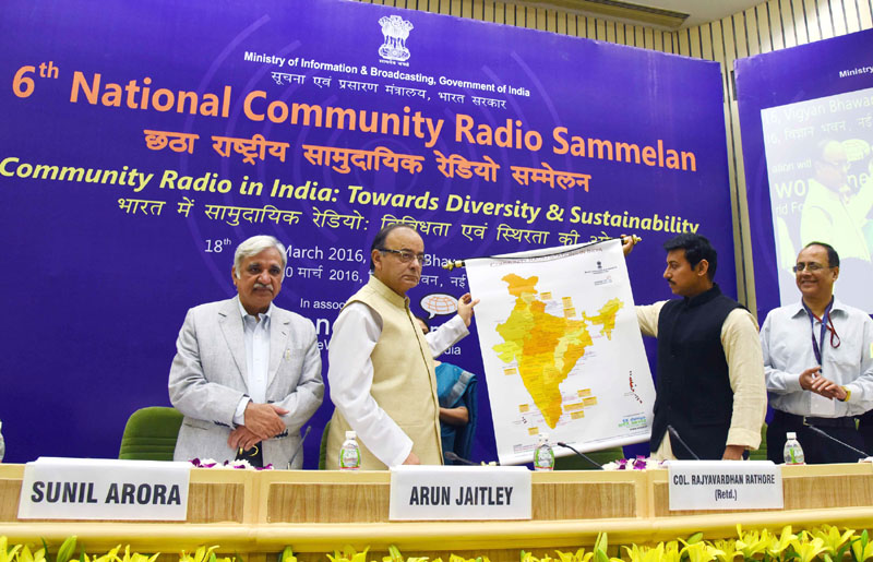 "The Union Minister for Finance, Corporate Affairs and Information & Broadcasting, Shri Arun Jaitley releasing the Map  at the 6th National Community Radio Sammelan, on the theme ""Community Radio in India: Towards Diversity and Sustainability"", in New Delhi on March 18, 2016.  The Minister of State for Information & Broadcasting, Col. Rajyavardhan Singh Rathore, the Secretary, Ministry of Information and Broadcasting, Shri Sunil Arora and the Additional Secretary, Ministry of Information & Broadcasting, Shri J.S. Mathur are also seen."