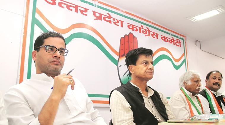 Prashant Kisore,Nirmal Khattri and Madusudan Mistry at a meeting at UPCC office in Lucknow on Thursday. Express Photo By Pramod Adhikari