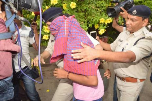 PATNA, JUNE 25 (UNI)- Ruby Rai a student of Bihar Board class 12 who topped the board's exam in arts stream, arrested by police at Bihar School Examination office in Patna on Saturday. UNI PHOTO-60U
