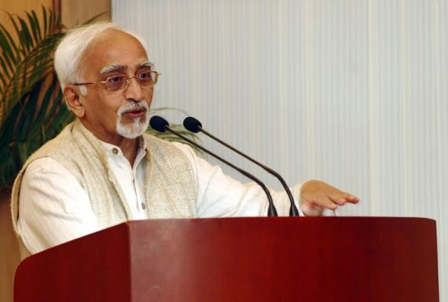 "The Vice President of India Mohammad Hamid Ansari addressing after  released a book on Naushad titled ""Zarra Zo Aftab Bana"" authored by Chaudhury Zia Imam in New Delhi on May 26, 2008."