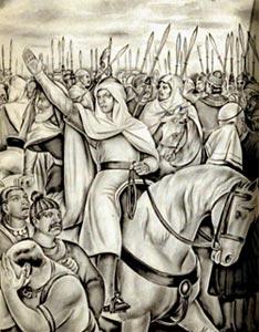 अपनी सेना को नेतृत्व देता मुहम्मद बिन कासिम( विकीपेडिया स्केच)
