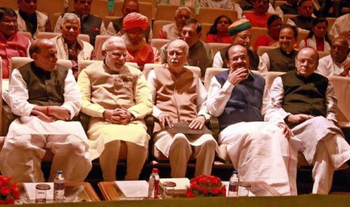 NEW DELHI, NOV 22 (UNI) Prime Minister Narendra Modi with senior party leaders L K Advani Rajnath Singh Venkaiah Naidu and others attending the BJP Parliamentary Party meeting at Parliament house library in New Delhi on Tuesday. UNI PHOTO-10U