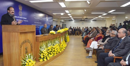 """The Union Minister for Urban Development, Housing & Urban Poverty Alleviation and Information & Broadcasting, Shri M. Venkaiah Naidu addressing at the release of the revamped Journal of the IIMC, """"Communicator and inauguration of the Induction Training Programme of IIS Group 'A' 2016 batch, 67th Diploma Course in Development Journalism and the first P.G. Diploma Course in Urdu Journalism, in New Delhi on January 17, 2017."""
